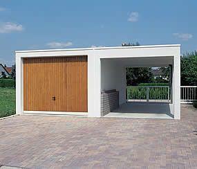 Carport Aus Beton In Kombination Mit Einer Fertiggarage Fertiggaragen Garage Mit Carport Carport