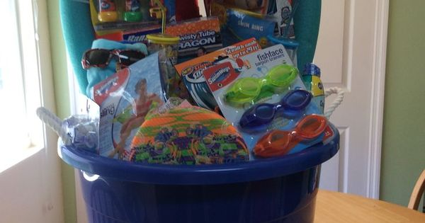 Quot Just Add Water Quot Pool Party Silent Auction Basket Towels