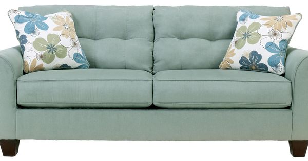 Kylee Lagoon Buttonless Tufted Two Cushion Sofa By Signature Design By Ashley Gardiners