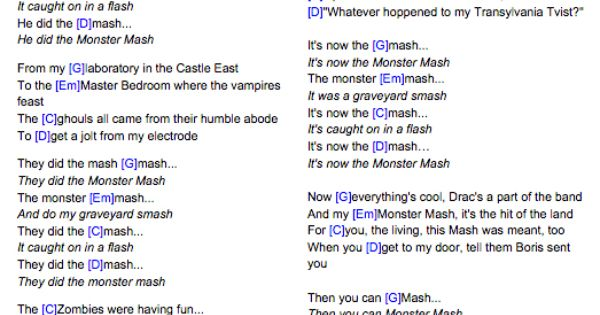 Monster Mash Guitar Chords