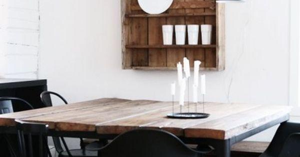 Stoere vierkante eettafel examen project pinterest eettafel eetkamer en keuken - Onderwerp deco design keuken ...