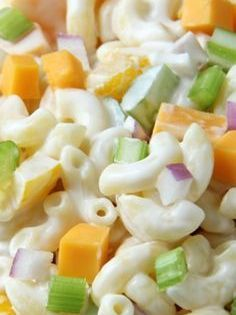 Creamy Cheddar Macaroni Salad It S Loaded With Peppers Celery Onions Chunks Of Cheddar Cheese Best Pasta Salad Salad Recipes Pasta Salad Recipes