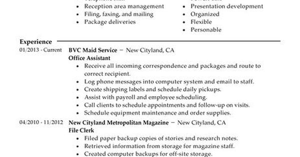 Office Assistant Resume Example Admin Sample Resumes - live career resume