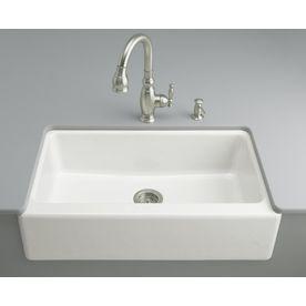 Kohler Dickinson 22 12 In X 33 In White Single Basin Cast Iron Apron F Cast Iron Farmhouse Sink Cast Iron Kitchen Sinks Apron Sink Kitchen