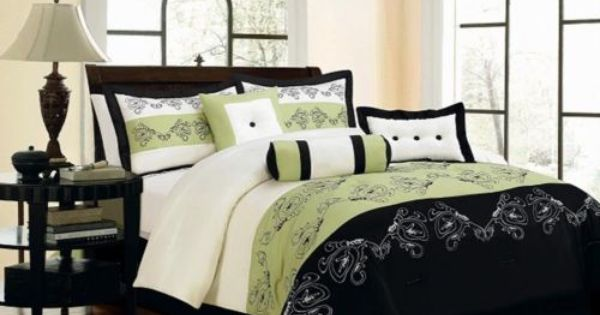 7 Piece King Size Comforter Set Embroidery Floral Black Sage Bed In A Bag Inspirations