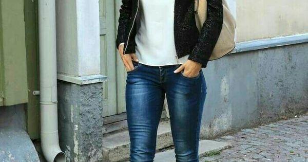 Para salir Jeans blusa cuello redondo blancachaqueta negra y botu00edn negro | outfit | Pinterest ...