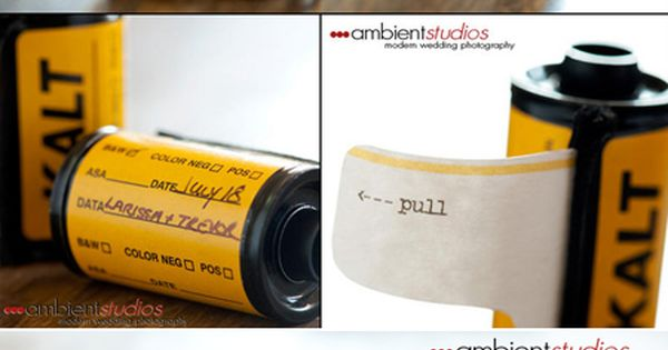 Party invitations Enclosed in 35mm film canisters.