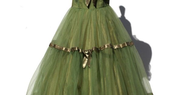 vintage green tulle party dress