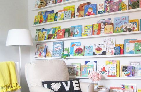 Awesome children's book wall! Kids room?
