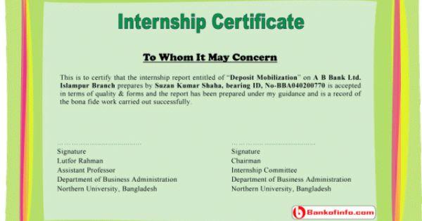 internship certificate sample