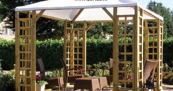 Houten prieel paviljoen met 600 523 tuinmeubels pergola en afdakjes pinterest - Pergola met intrekbaar canvas ...