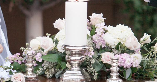 Bride & Groom Light Unity Candle During Outdoor Ceremony