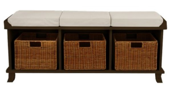 Target Entryway Bench With 3 Baskets Cushions Espresso Image Zoom For The Home