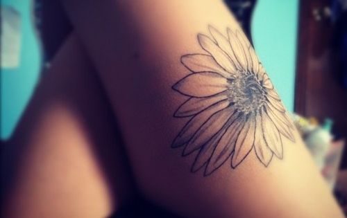 Daisy Tattoo, Thigh Tattoo, Leg Tattoo