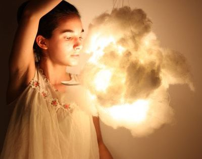 Cloud Lights - First, you need some cotton batting, a paper lantern,