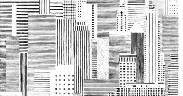 intricate yet simple, city illustration by hannah waldron