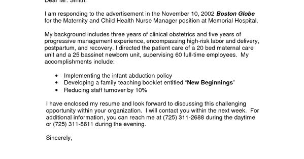 oncology nurse resume cover letter