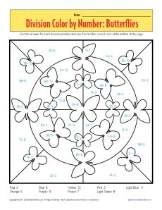 Color By Number Butterflies Printable Division Worksheets Spring Math Worksheets Math Pages Math Valentines