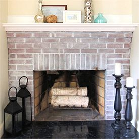 Revive Your Dated Brick Fireplace With This White Wash Tutorial White Wash Brick Fireplace White Wash Brick Red