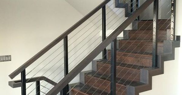 Black Aluminum Interior Staircase Cable Railing System By Stainless Cable Railing Photo