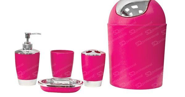 Set pour salle de bain 5pcs rose ce set d 39 accessoires de salle de bains comprend une poubelle - Accessoire de salle de bain rose mauve ...