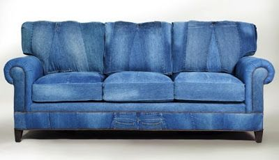 Sofa Covered With Old Jeans Denim Couch Repurposed