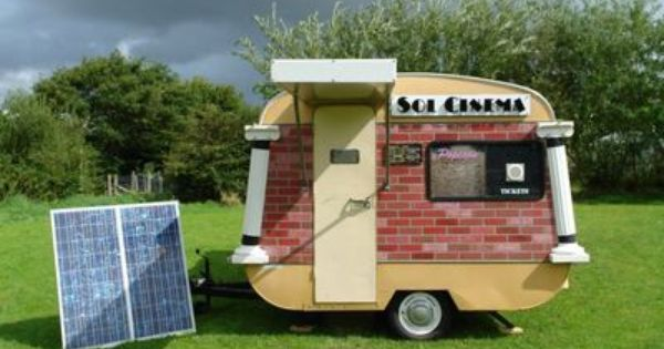The World S Smallest Movie Theater Small Movie Vintage Caravans Solar Power