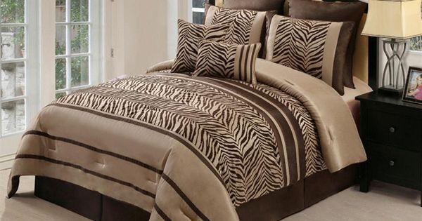 8pc Zambia Chocolate Brown Zebra Print Comforter Set Queen