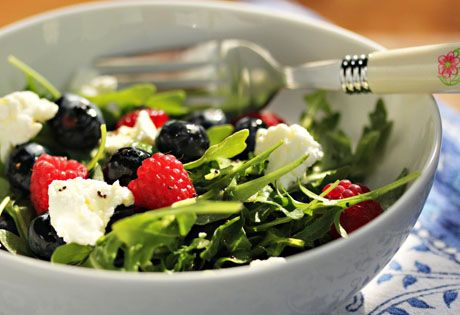 Arugula, berries and goat cheese salad with poppy seed dressing, from ...