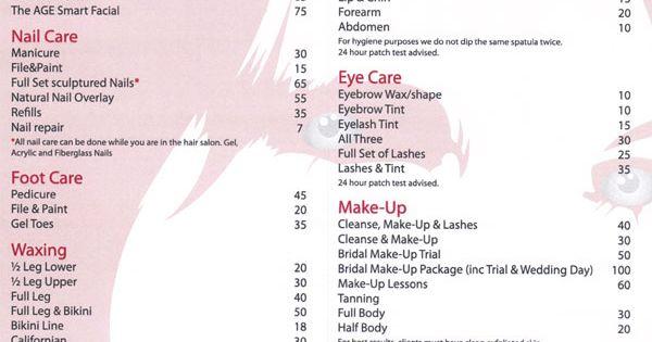Fashion Beauty Rate: Salon Price List