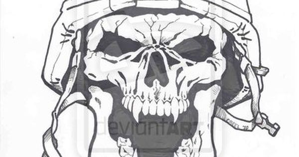 Cool army skull drawings