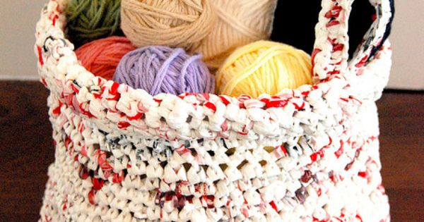 "crochet ""plastic bag"" basket"