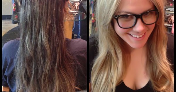 Hair by alex trey for salon visage brunette to blonde for 3 brunettes and a blonde salon