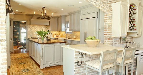 Love brick arch of kitchen, cabinet color: custom color started with BM's