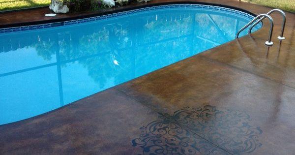 Acid Stain Pool Deck With Accent Design Pinterest Acid