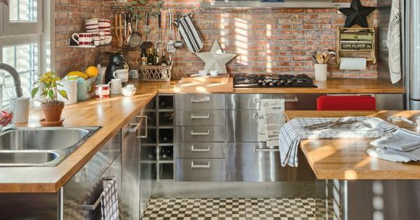 comment choisir la cr dence de cuisine id es en 50 photos murs de briques rouges les. Black Bedroom Furniture Sets. Home Design Ideas