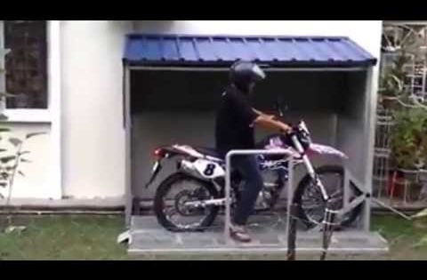 Motorcycle Special Parking Garage Youtube Motorbike Shed Motorcycle Storage Shed Motorcycle Storage