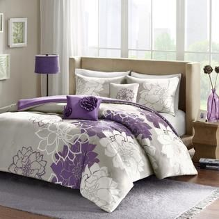 Colormate 5 Piece Lola Comforter Set Floral Print Purple Gray