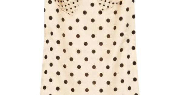 Cream shift dress with black polka dots and big bow.