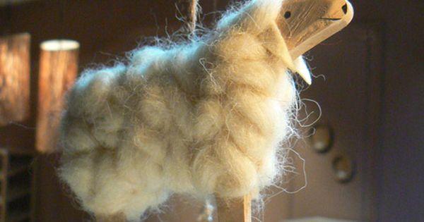 D coration de no l set de 2 en bois et laine mouton for Athezza decoration