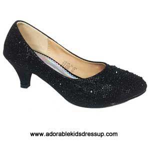 Girls High Heel Shoes- black pumps-bz