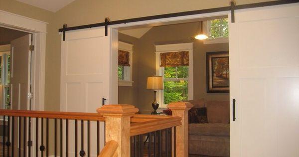 To close off loft office hmmm pinterest loft - How to make an interior sliding barn door ...