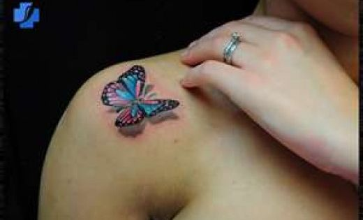 3D butterfly tattoo ink inked body modification
