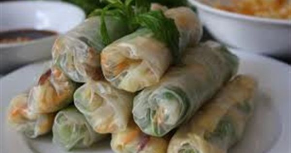 Beautiful, Fresh salad, noodles, prawns, chicken or beef wrapped in rice paper