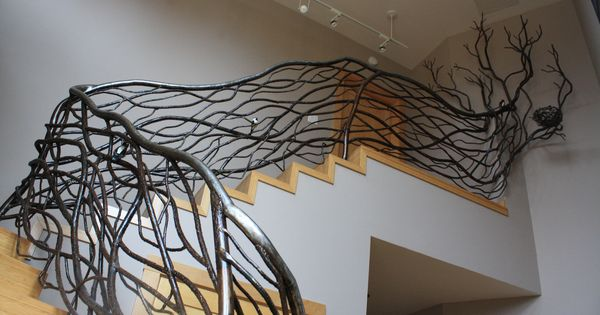 Winding Vine Railing With Tree Branch Finial Welded Steel