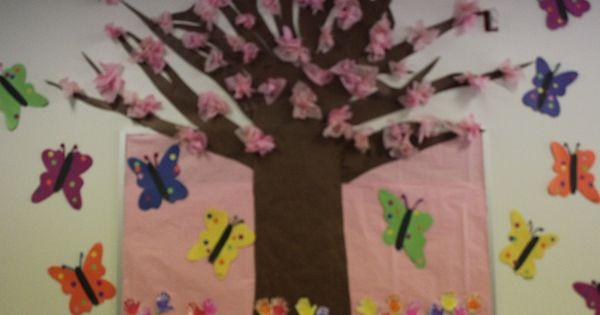 Bird bullentin boards pretty spring tree with for Pretty bulletin board