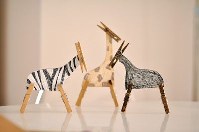 animals made from clothes pegs