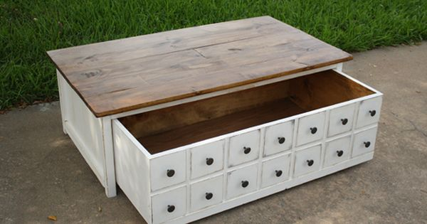 Build a apothecary coffee table with toybox trundle free for Diy coffee table with drawers