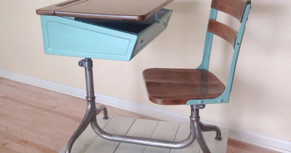 school desk chair combo metal and wood 1930 39 s vintage chairs