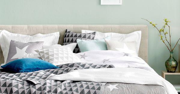 Mint, Watery Blue/green Walls, Grey Accents, Comfy Bed,i